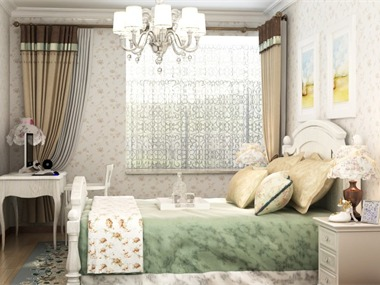 客厅的整体设计简洁明快,整体风格定位为韩式田园,厨