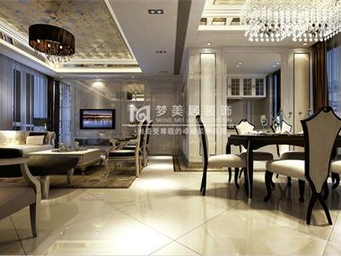 本案例为简欧式奢华风格,不管是客厅或是餐厅都采用了