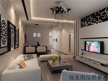 黑白客厅沙发背景墙效果图
