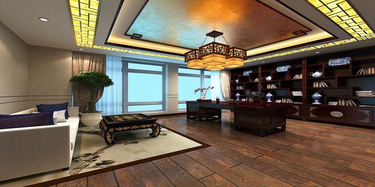 中式辦公室設計案例300平米裝修效果圖_盧澤萍設計