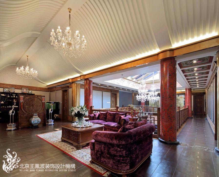 中式休闲区吊顶实景图