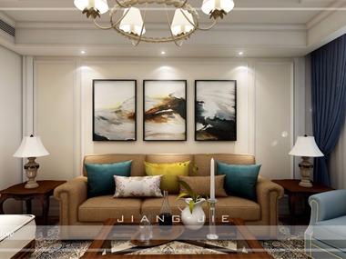 美式客廳背景墻效果圖