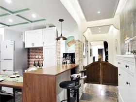 美式厨房吧台实景图