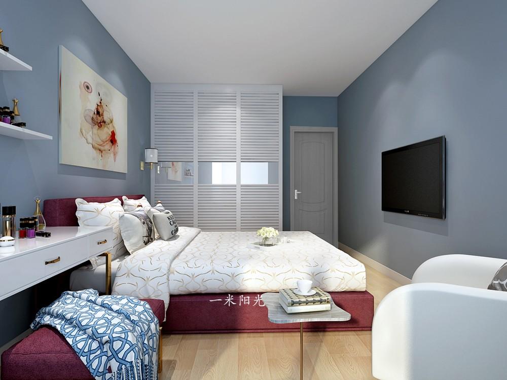 現代臥室背景墻效果圖