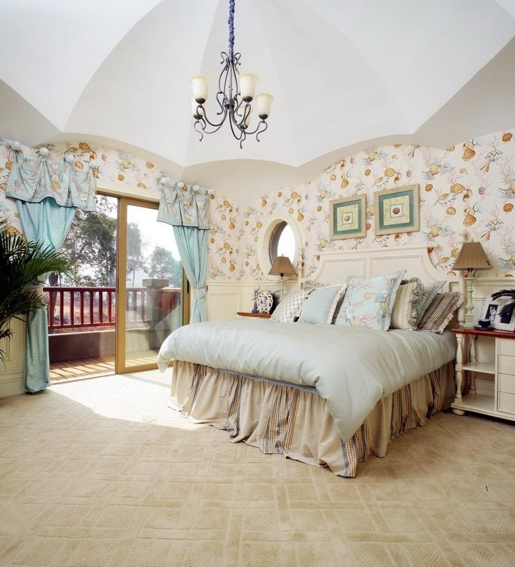 田园卧室背景墙效果图