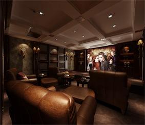 中式视听室沙发背景墙效果图