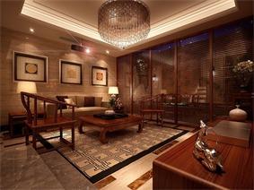 新古典视听室沙发背景墙效果图