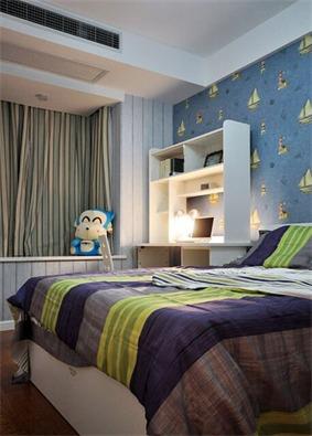 中式儿童房飘窗实景图