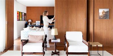 巴西270㎡时尚公寓,用一扇门巧妙隔出两个空间