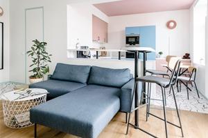 俄罗斯48平米的粉蓝公寓